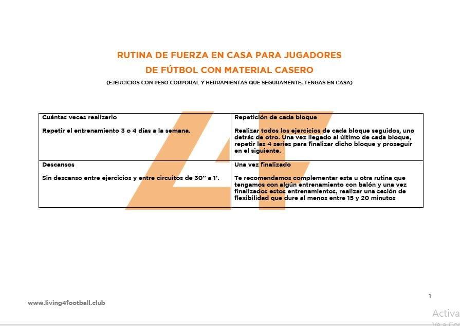 RUTINA DE FUERZA EN CASA PARA JUGADORES EN CASA CON MATERIAL CASERO (imagen 1)