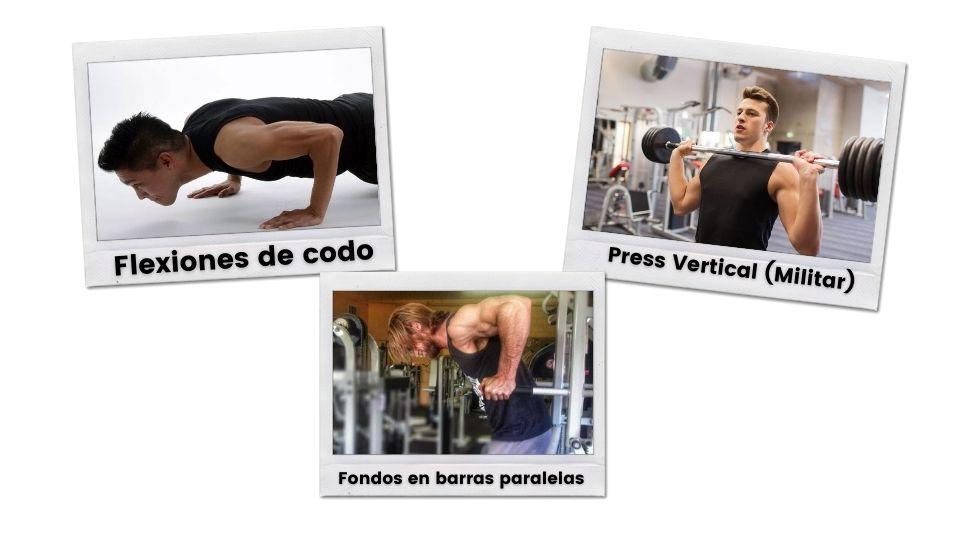 Flexiones-de-codo-Press-vertical-militar-y-fondos-en-barras-paralelas